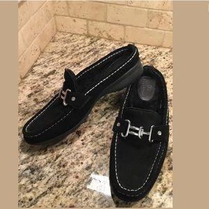 Cole Haan waterproof black suede shearling shoes